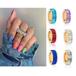 Basit Chic Geometrik Bant Yüzükler Akrilik Renkli Kare Kristal Zirkon Yüzük Kızlar için Moda Takı Aksesuarları