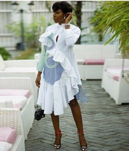 Jupe vendent bien shirt femme vêtements bande Loisirs Splicing bord Lotus feuille Irrégularité Jupe Robe à manches longues B9219