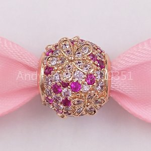Аутентичные 925 стерлингового серебра шариков Rose Pink Pavé Daisy Flower Charm Подвески Подходит Европейский Pandora Стиль ювелирных изделий Браслеты Ожерелье 78879