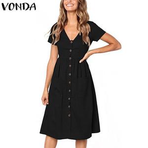 Más el tamaño ocasional de las mujeres del verano del vestido profundo atractivo del V-cuello de la manga corta con el botón vestido elegante hasta la rodilla Vestidos Solid 5 Color