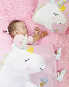 60cm*120cm Cartoon Unicorn Animal Cute Baby Throw Blanket Sofa Bed Travel Plaids Wool Thread Blanket Children Gift
