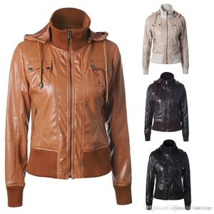 Womens Leather Jackets zipper motorcycle jackets female Faux leather Jacket Hat Removable coat Waterproof outwear Spring women casual coats