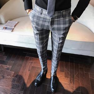 Venda por atacado - calças de casamento calças masculinas calças de vestido xadrez negócios casuais esportes magros Pantalon Um cheque retro clássico dos homens Carreau