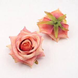 20pcs 9 cm Fake Flowers flores artificiales cabeza de Rose del hogar de la boda de la decoración DIY Accesorios rosas artificiales de simulación