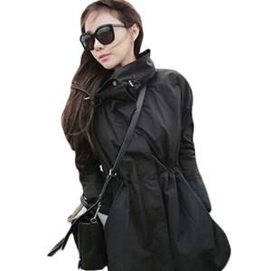 BIUZKO Delgado Diseñador de Cintura Ajustable Mujeres Primavera Trench Coat 2018 Coreana Europea Windbreaker Vintage Autum Streetwear