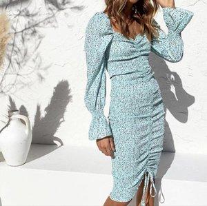 Women Lacing up Elastic Ruched Mid Long Party Dot Print Long sleeve Dress Elegant Dresses