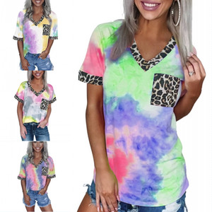 DHL Shipping Womens Tie Dye V Neck Short Sleeve Trendy Pocket Tops Tees Summer Casual Leopard Patchwork T Shirts for Lady Girls B88F