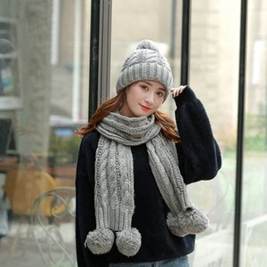 Woman Knitted Ring Scarf Scarves Warm Ski Fashion Crochet Hat Outdoor Cap Girl Knit Beanies Sets Party Hats TTA1838 Lgjib