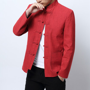 Kırmızı Yılbaşı Giysi Mens 2018 Çin Tarzı Blazers Mens Standı Yaka Blazers Masculino Geleneksel Çin Giysiler Mandarin