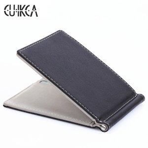CUIKCA Corée du Sud Style Argent Pinces Mode Hommes Portefeuille Bourse Ultra-mince Portefeuille Mini En Cuir Portefeuille ID Carte de Crédit Cas