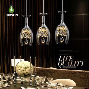Plafond LED Lumières modernes 3 Lumières Verres à vin Bar cristal de luxe décoratif Lustre suspendu restaurant droplight