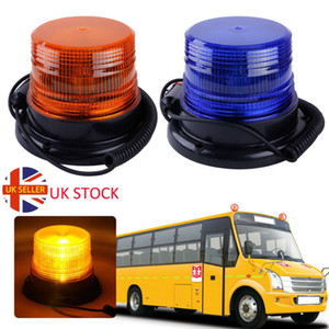 Vehicle Strobe Auto Bus Beacon Rooftop Emergenza rotante allarme magnetico Mount Warning LED Flash Light ambra DC12V / 60V UK
