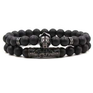 Foreign trade popular explosion bracelet Micro-inlaid zircon bends Micro-inlaid skull mask Set frosted stone elastic bracelet