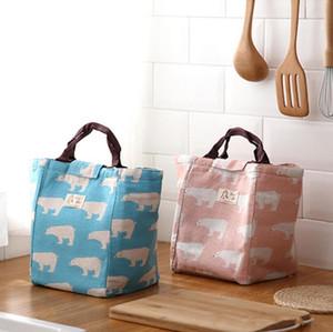 قماش معزول حقيبة الغداء فلامنغو رسم الرسم نزهة الغداء الحقيبة حقيبة سلال مع منظمة التخزين الرئيسية سلسلة