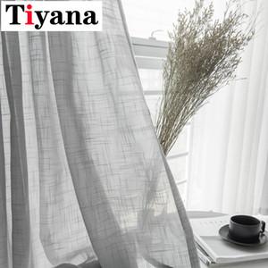 Tiyana Simple White Fenstersiebung Fest Grau Küchentürvorhänge Vorhänge Cotton Soft Transparenter Tüll für Wohnzimmer