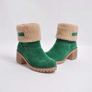 botines nieve de las mujeres del invierno del ante medio cargador cargadores largos del Clásico Negro Gris Moda zapatos de niña tacones gruesos zapatos baratos caliente metálico bufanda