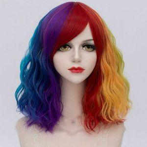 Мода Gradient завитые жаропрочных Cosplay Парик Multi-Color парик волос UK