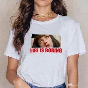 Spoof Harajuku Bianco T-Shirt Donna 2018T Estate Novità Tee Shirt Femme Vita Boring Letters Stampa Donna Tshirt WC35