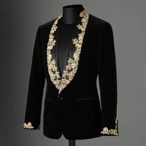 High Quality Velvet Black Men's Suit Coat Gold Applique Lace Shawl Lapel Slim Blazer Formal Wear Plus Only One Jacket