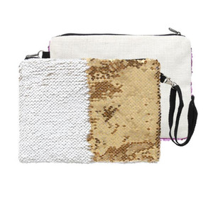 Cosmetic Bag Sublimation Linen sequins blank cosmetic bags coin purse makeup bag hot transfer printing blank 16*23cm