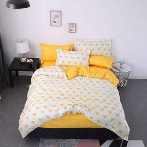 Crown Set cama King Size Simples criativa dos desenhos animados Branco capa de edredão rainha gêmeo completa capa do single Cama confortável com fronha
