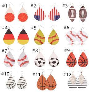 Estilos de moda Esportes PU Leather gota forma brincos Baseball Vintage Football América Bandeira Nacional Brinco Crianças T10C001 Jóias