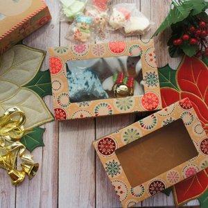 22 * 15 * 7cm 10pcs Kraft Kağıt Parlak Kırmızı Noel Renk Ball Tasarım Kağıt Kutu Mum Şeker Bake DIY Parti Hediyeleri Packaging Yana
