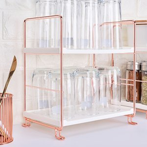 1xStorage rack Banho Ferro Art Multi-funcional Kitchen Kit Prata / Rosa de Ouro