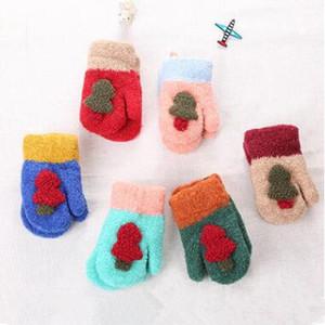 Детская Рождественская елка перчатки мальчики девочки милые вязаные перчатки открытый зимние теплые варежки конфеты цвет варежки Детские аксессуары 6 цветов WY28