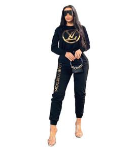 Designer tuta tute le donne di lusso di marca autunno delle donne Tute Jogger Suits jacket + pants Insiemi di sport delle donne del vestito stampa di cotone