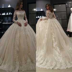 Arabic Bateau Neck Lace Wedding Dresses 2020 New With Long Sleeves Tulle Applique Ruched Sweep Train Bridal Wedding Gowns Vestido