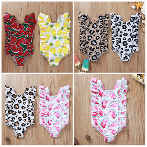 6styles Leopard fruit print kids swimsuit one-piece summer beach baby girl Pineapple watermelon swimming clothes FFA4087