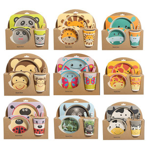 5pcs / sets bébé vaisselle vaisselle Set fourchette de bande dessinée nourrir des plats pour ustensiles pour enfants bol en fibre de bambou naturel avec tasse plat cuillère