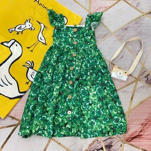 2020 Summer New fashion pretty baby girl dress Printed Clover prince Bohemian suspender dress kids boutique cloth