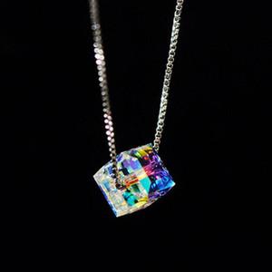 Nouveau collier en acier inoxydable aurora cube cristal collier femelle pour femme designer bijoux de luxe livraison gratuite