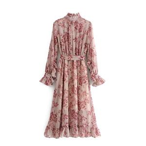 Урожай Цветочные печати Пояса Ruffled плиссе платье способа женщин Bow Tie Воротник Длинные платья втулки вскользь Бесплатная доставка