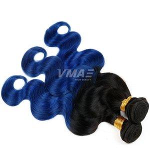 Vmae dos tonos 1b azul ombre virgen vírgenes humanos brasileño onda onda 3 unids negro y azul tejido ombre umbral extensiones de cabello humano trenzado pelo