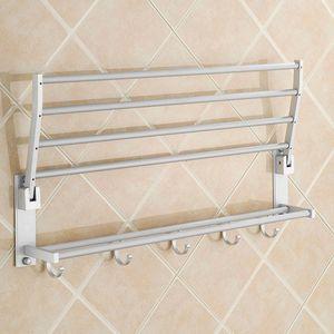Modern Double Wall Mounted Bathroom Bath Towel Rails Holder Storage Rack Shelf