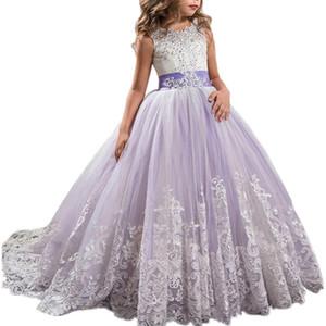 Applique Lace Flower Girl Dresses Tulle lunghi comunione abito di sfera capretti delle bambine di spettacolo Abiti occasione convenzionale