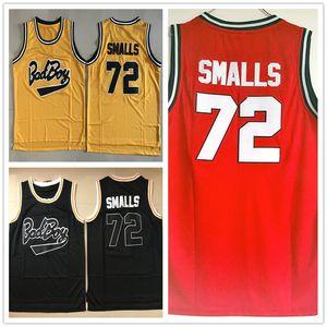 영화 Mens Biggie Smalls 저지 Notorious B.I.G. Bad Boy 농구 저지 # 72 Biggie Smalls 스티치 농구 셔츠 자수
