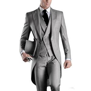 Nouvelle dernière conception un bouton gris clair smoking smokings pointe revers garçons d'honneur hommes costumes de mariage meilleur costumes pour homme (veste + pantalon + gilet + cravate) XZ5