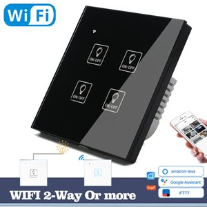 & Switch Accessories Switches WIFI Touch Light Icon Wall Switch Black Glass Panel Blue LED EU & UK Universal Smart Home