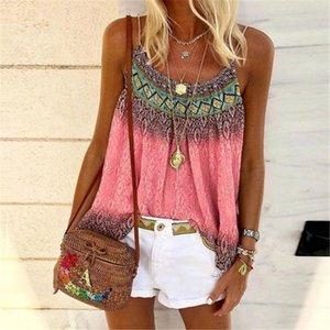 Lusofie Bohemian Camis Women Print Strap Camis 2020 Hot Sleeveless Tops Summer Tee Shirts Women Clothes Lady Streetwear