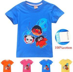 Ryan's World Pocket Watch Boy's Graphic Novelty Tee Shirt - Panda Moe Red Titan