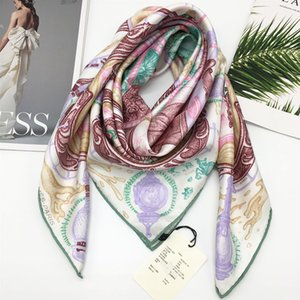 New style high quality 90cm - 90cm 100% twill silk material print pattern Fashion beautiful square scarf for women