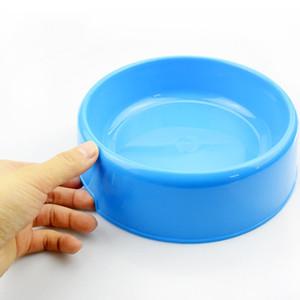 الكلب جولة واحدة السلطانية البلاستيك الكلاب الغذاء دلو الراتنج تغذية الرف شرب الحيوانات الأليفة إمدادات المياه أصفر أزرق 1 8jy C1