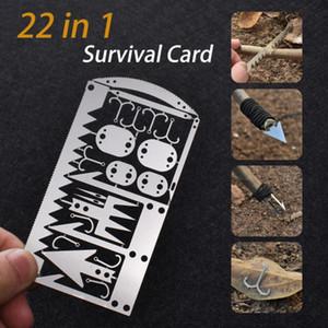 EDC Kit 22 en 1 artes de pesca Tarjeta de Crédito Multi-Herramienta para acampar al aire libre Equipo de supervivencia herramientas de caza supervivencia de la emergencia