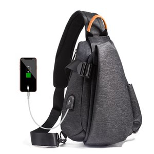 Multifunction Crossbody Bags Men Unisex USB Charging Chest Pack Short Trip Messengers Chest Bag Water Repellent Shoulder Bag
