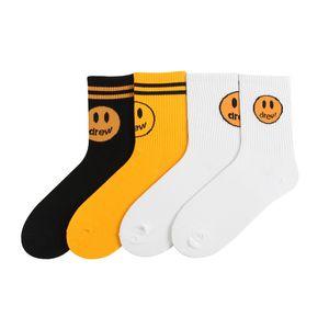Drew maison même noir, jaune, blanc et visage souriant chaussettes en gros de coton de marque européenne et de la mode de la rue américaine WGWZ01