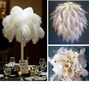 50 adet çok 6-26 inç Devekuşu Tüy Beyaz Plume Düğün masa Centrepiece Masaüstü Dekorasyon Peluş Noel Dekor